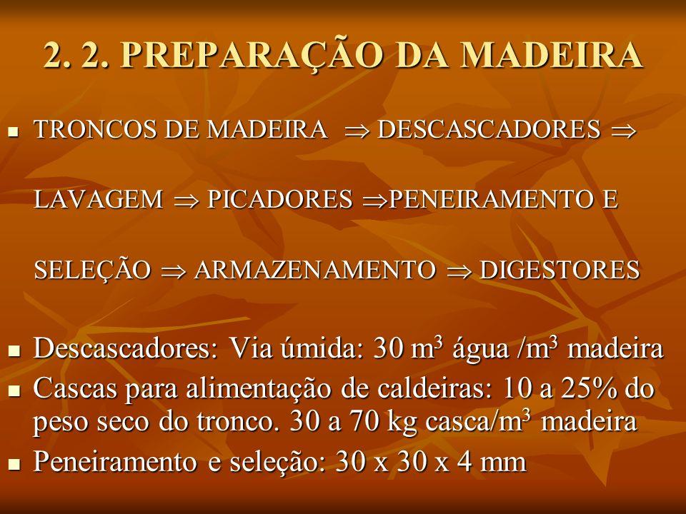 2. 2. PREPARAÇÃO DA MADEIRA TRONCOS DE MADEIRA  DESCASCADORES  LAVAGEM  PICADORES PENEIRAMENTO E.