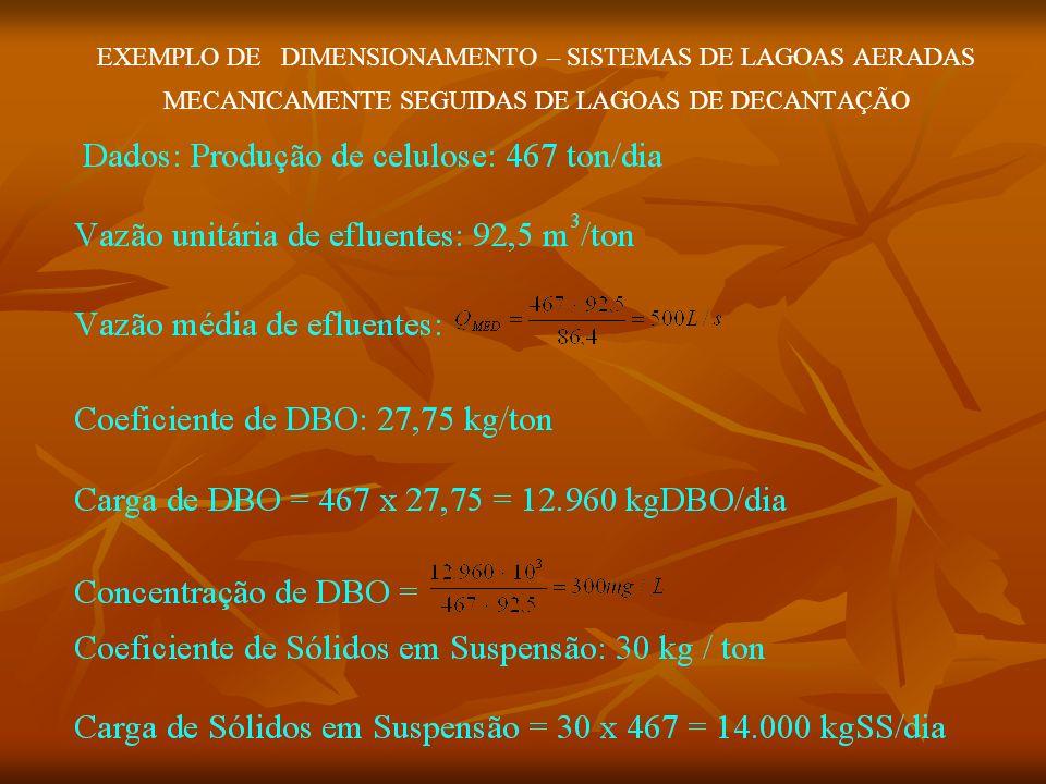 EXEMPLO DE DIMENSIONAMENTO – SISTEMAS DE LAGOAS AERADAS MECANICAMENTE SEGUIDAS DE LAGOAS DE DECANTAÇÃO