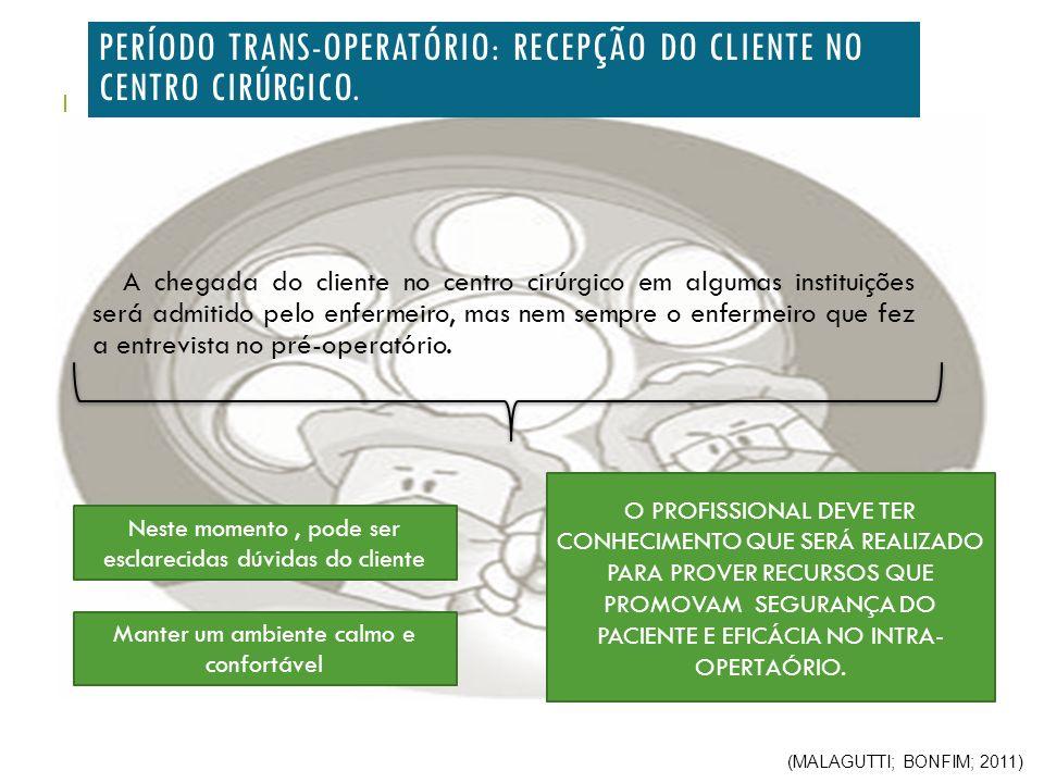 PERÍODO TRANS-OPERATÓRIO: RECEPÇÃO DO CLIENTE NO CENTRO CIRÚRGICO.