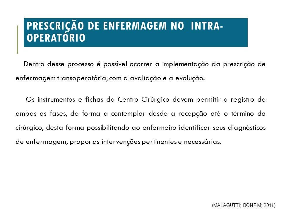 PRESCRIÇÃO DE ENFERMAGEM NO INTRA-OPERATÓRIO