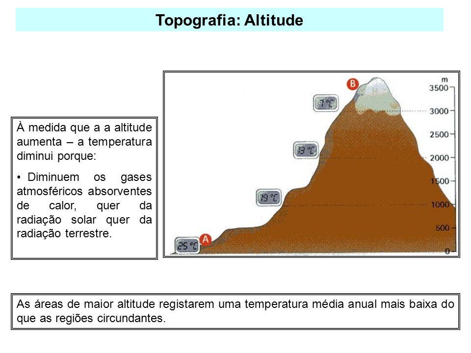 Topografia: Altitude À medida que a a altitude aumenta – a temperatura diminui porque: