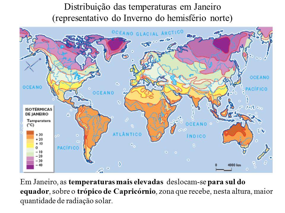 Distribuição das temperaturas em Janeiro (representativo do Inverno do hemisfério norte)
