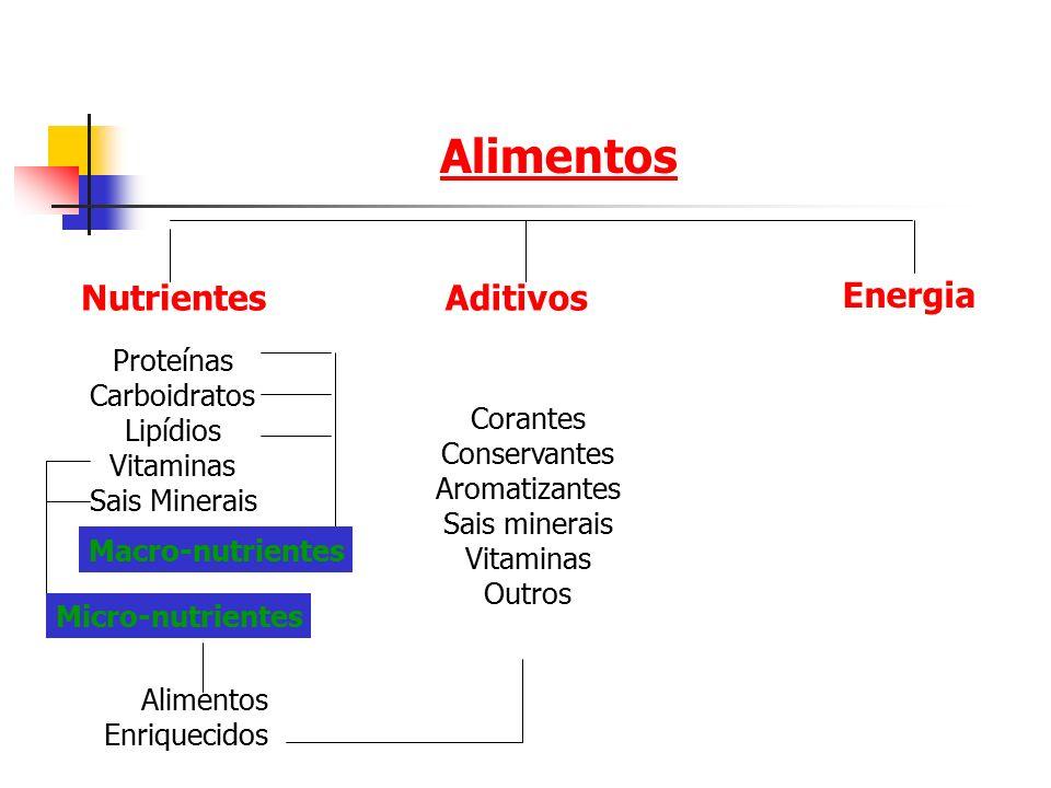 Alimentos Nutrientes Aditivos Energia Proteínas Carboidratos Lipídios