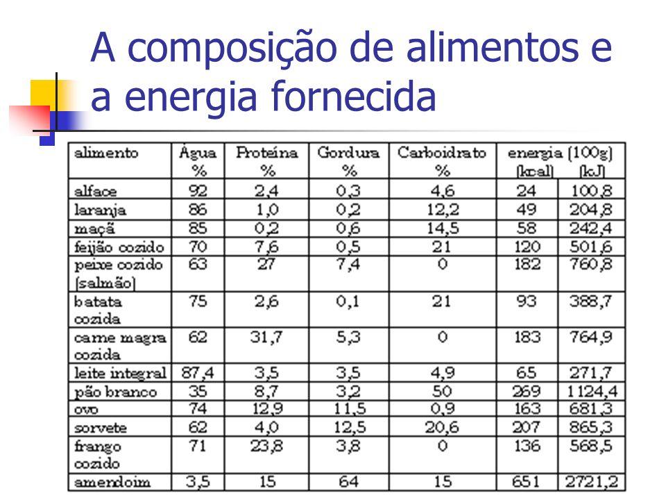 A composição de alimentos e a energia fornecida