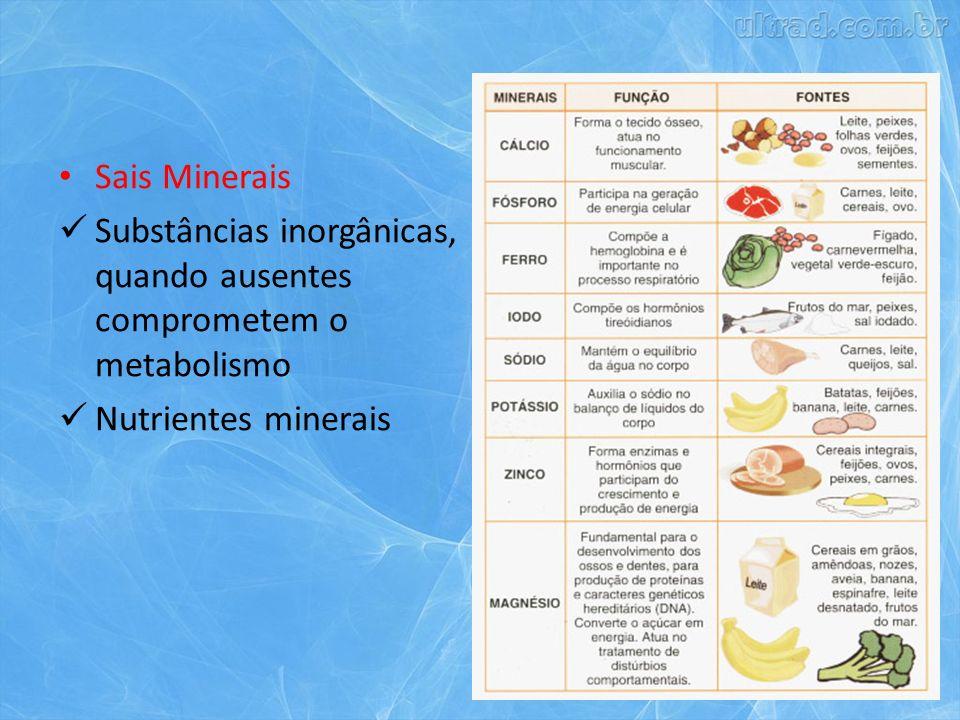 Sais Minerais Substâncias inorgânicas, quando ausentes comprometem o metabolismo.
