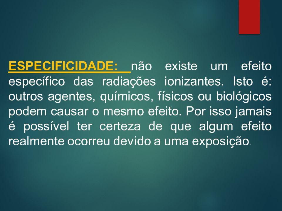 ESPECIFICIDADE: não existe um efeito específico das radiações ionizantes.