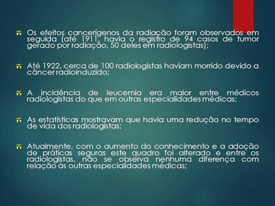 Os efeitos cancerígenos da radiação foram observados em seguida (até 1911, havia o registro de 94 casos de tumor gerado por radiação, 50 deles em radiologistas);