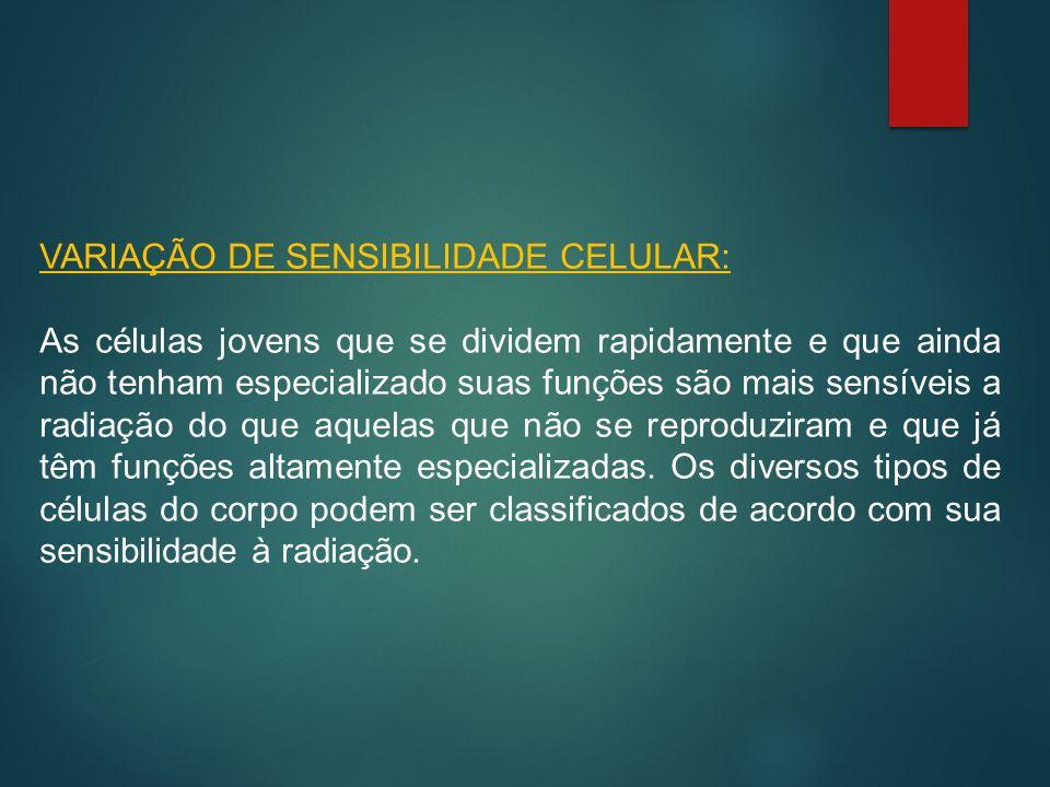 VARIAÇÃO DE SENSIBILIDADE CELULAR: