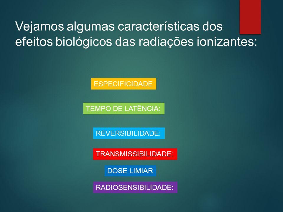 Vejamos algumas características dos efeitos biológicos das radiações ionizantes: