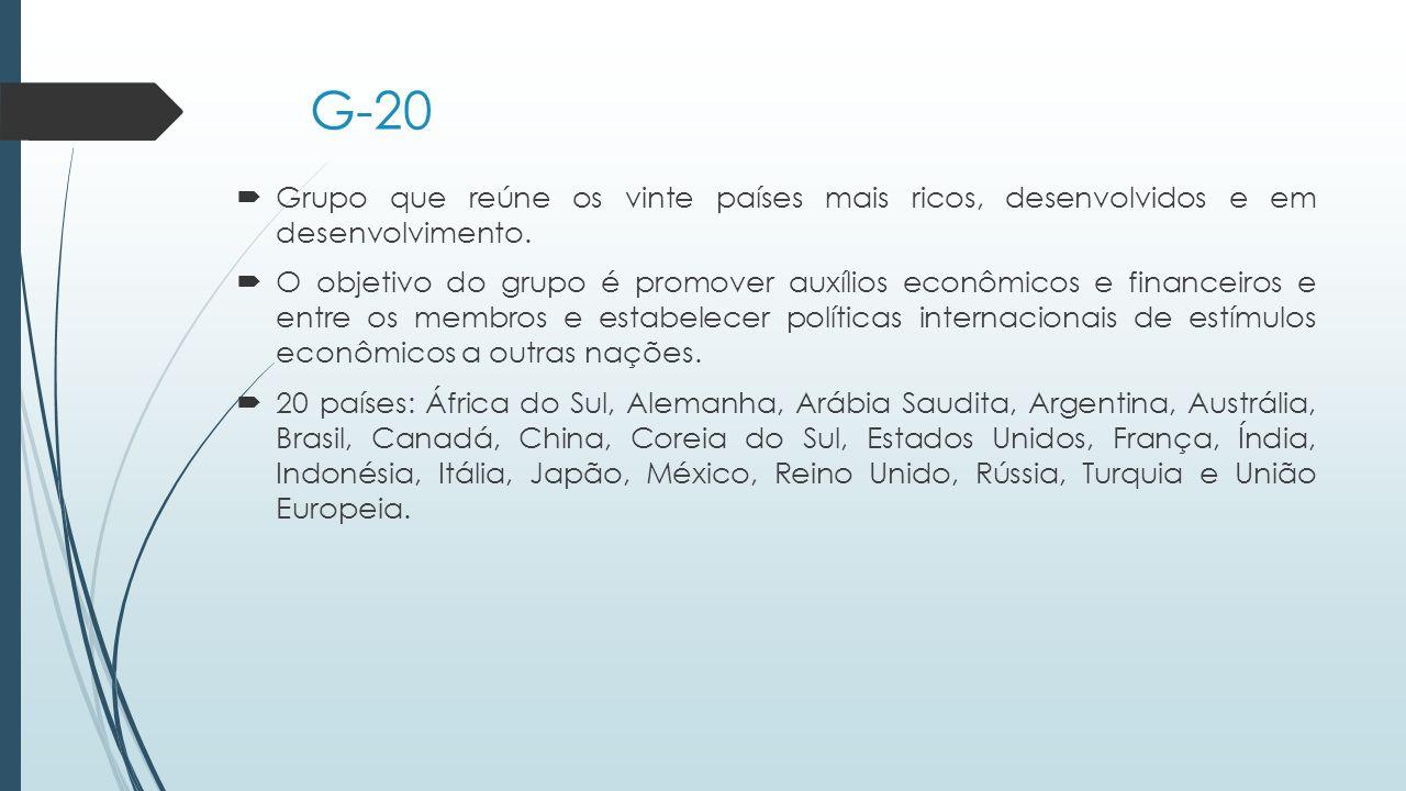 G-20 Grupo que reúne os vinte países mais ricos, desenvolvidos e em desenvolvimento.