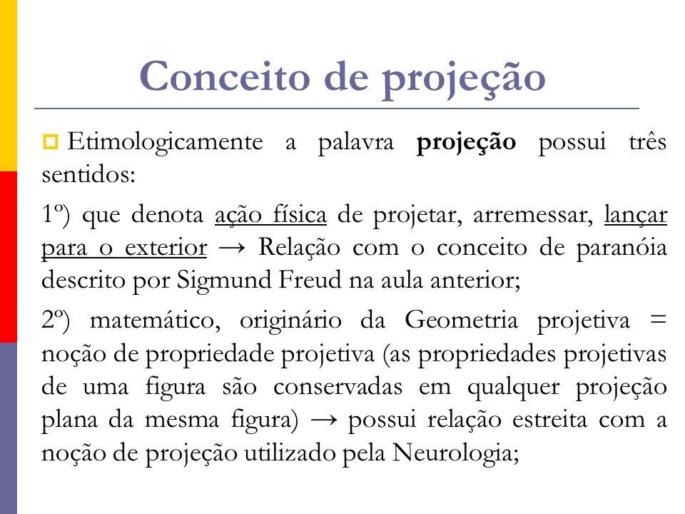 Conceito de projeção Etimologicamente a palavra projeção possui três sentidos: