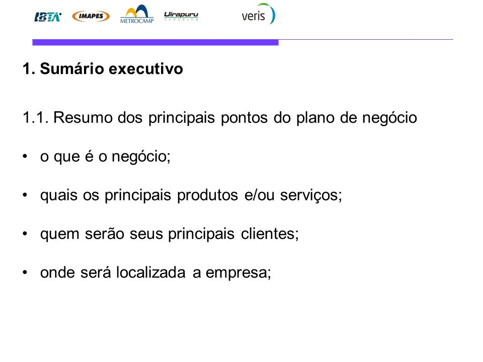 Sumario executivo do plano de negocios
