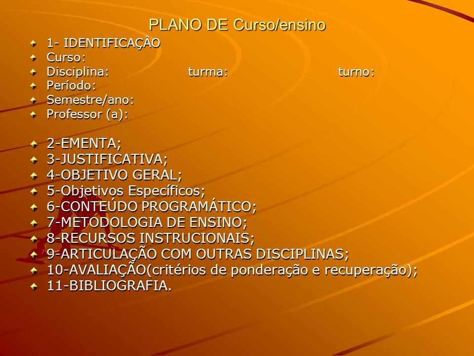 PLANO DE Curso/ensino 2-EMENTA; 3-JUSTIFICATIVA; 4-OBJETIVO GERAL;