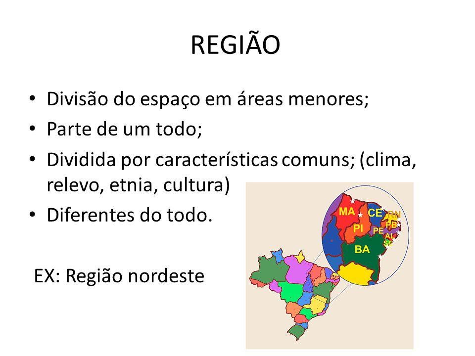 REGIÃO Divisão do espaço em áreas menores; Parte de um todo;