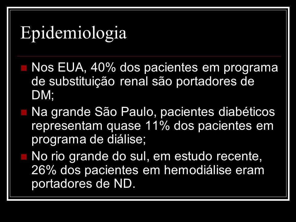 Epidemiologia Nos EUA, 40% dos pacientes em programa de substituição renal são portadores de DM;