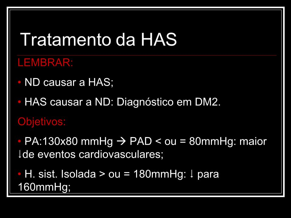 Tratamento da HAS LEMBRAR: ND causar a HAS;