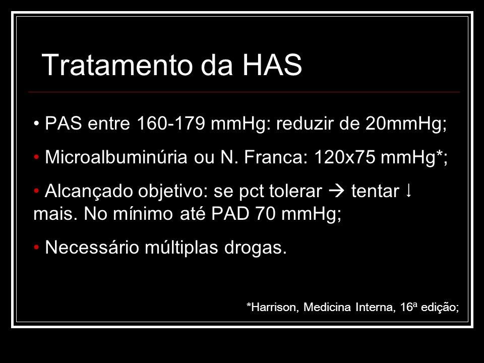 Tratamento da HAS PAS entre 160-179 mmHg: reduzir de 20mmHg;