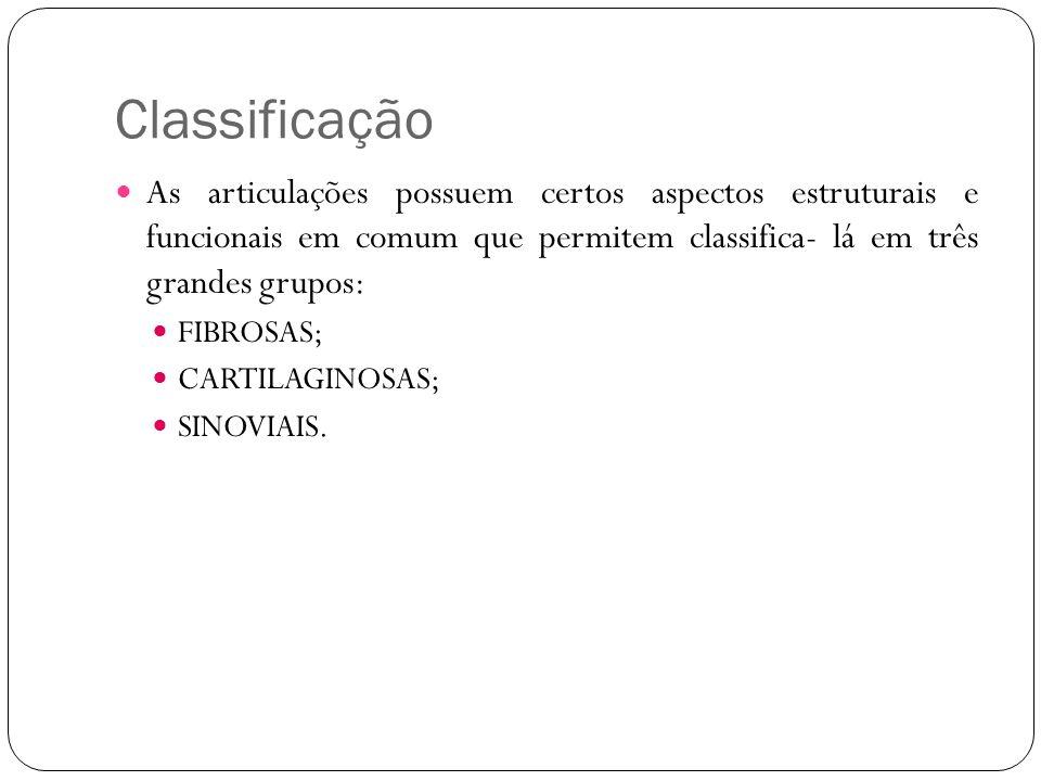 Classificação As articulações possuem certos aspectos estruturais e funcionais em comum que permitem classifica- lá em três grandes grupos: