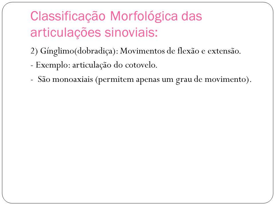 Classificação Morfológica das articulações sinoviais: