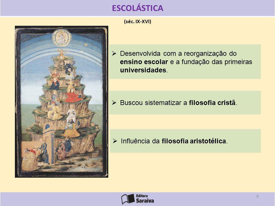 ESCOLÁSTICA (séc. IX-XVI) Desenvolvida com a reorganização do ensino escolar e a fundação das primeiras universidades.