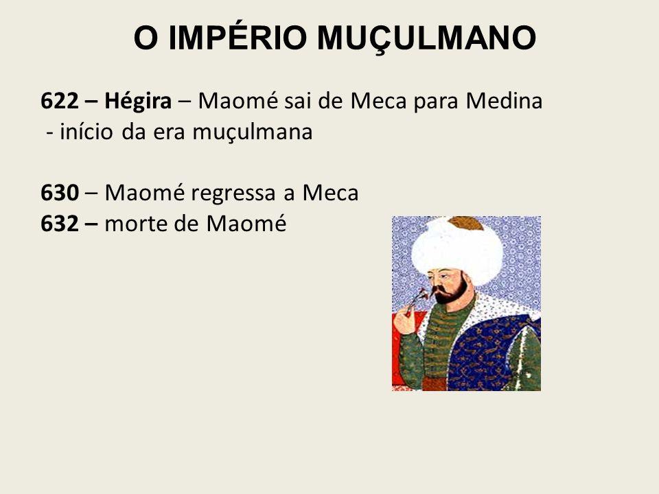 O IMPÉRIO MUÇULMANO 622 – Hégira – Maomé sai de Meca para Medina
