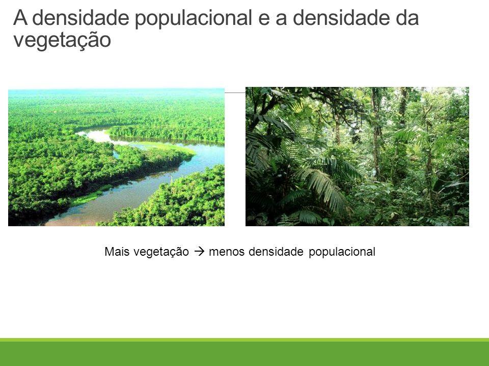 A densidade populacional e a densidade da vegetação