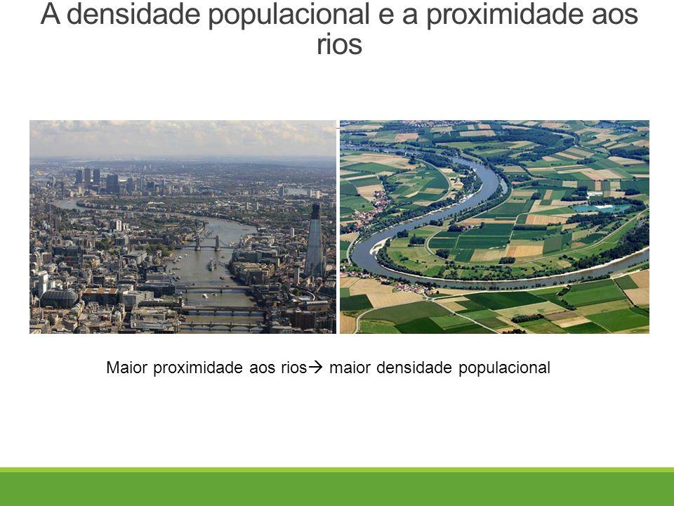 A densidade populacional e a proximidade aos rios