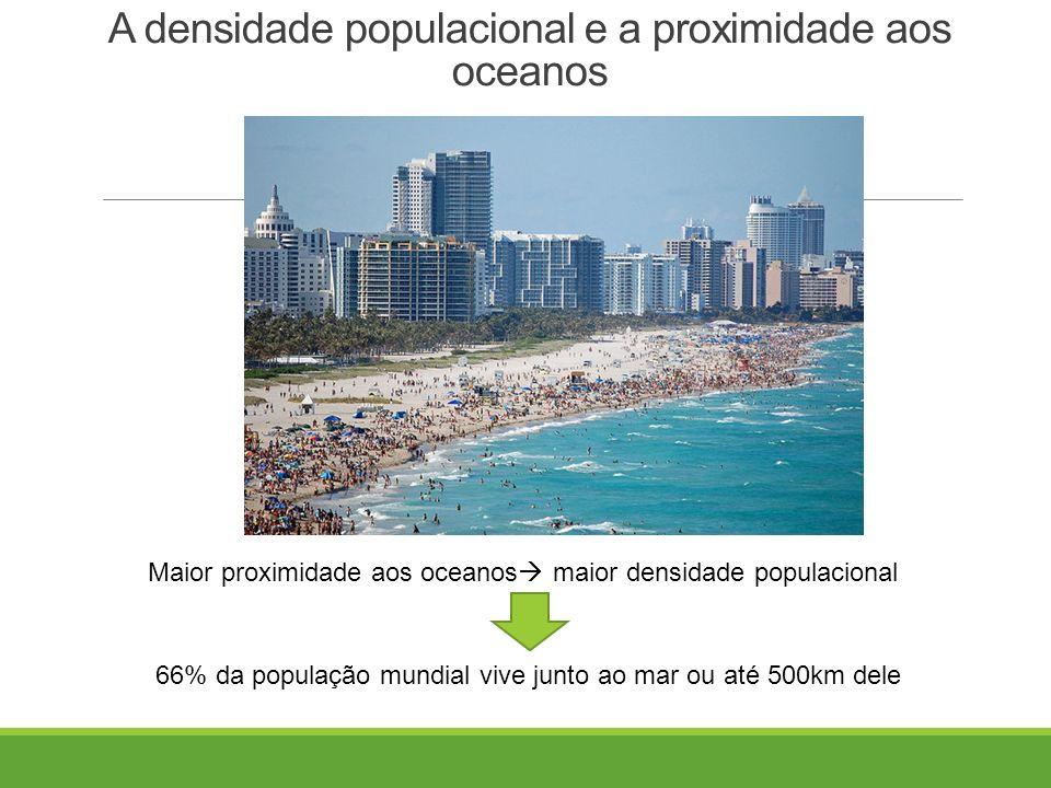 A densidade populacional e a proximidade aos oceanos