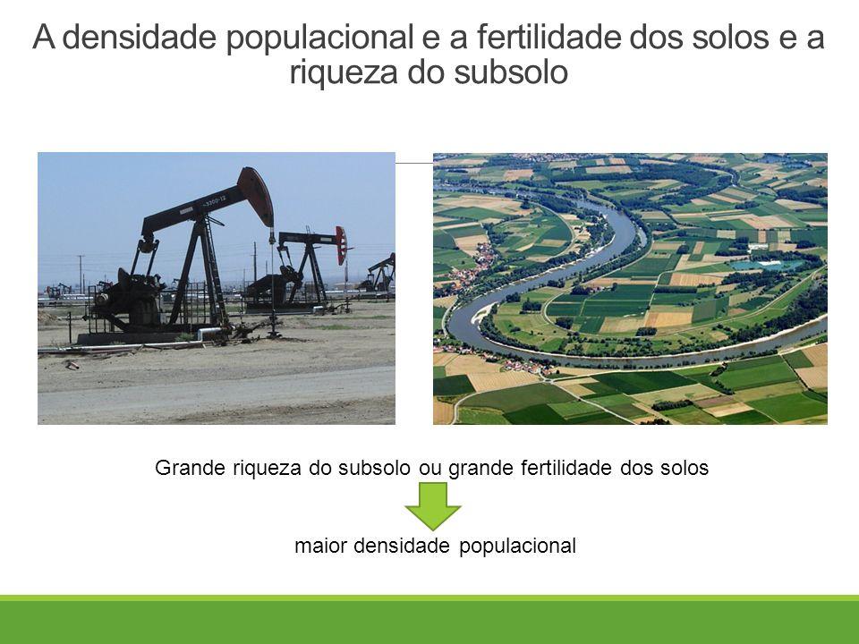 A densidade populacional e a fertilidade dos solos e a riqueza do subsolo