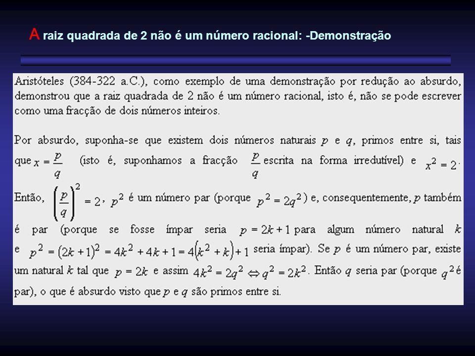 A raiz quadrada de 2 não é um número racional: -Demonstração