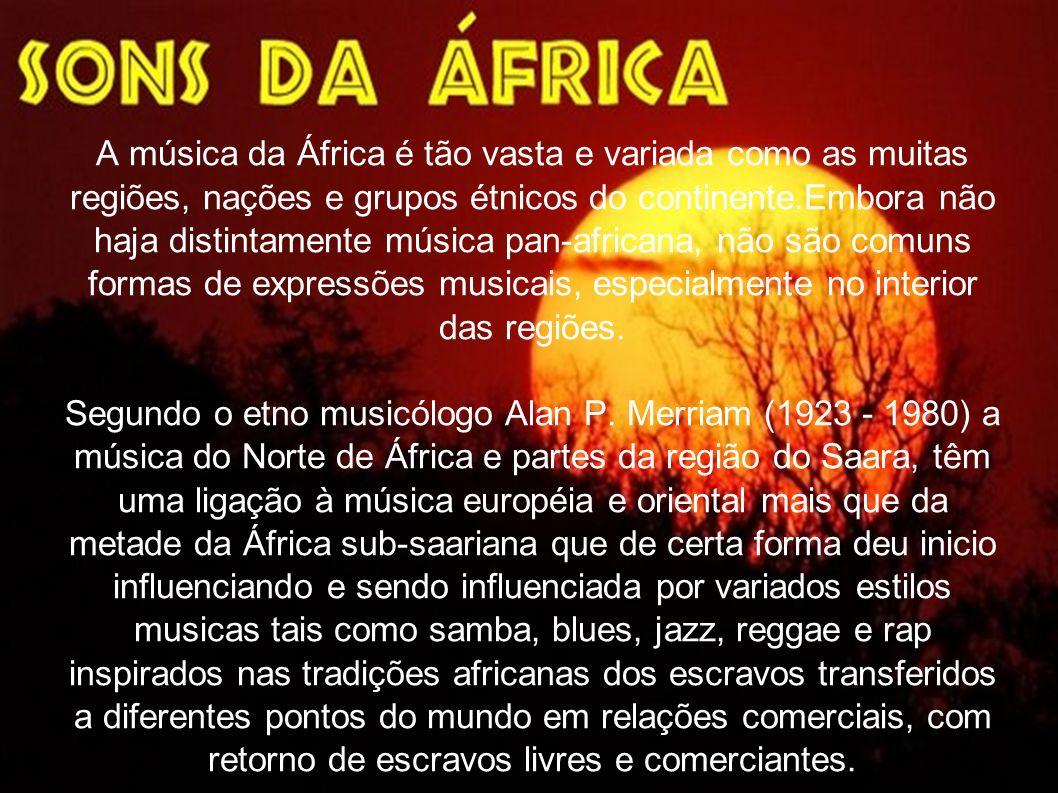 A música da África é tão vasta e variada como as muitas regiões, nações e grupos étnicos do continente.Embora não haja distintamente música pan-africana, não são comuns formas de expressões musicais, especialmente no interior das regiões.