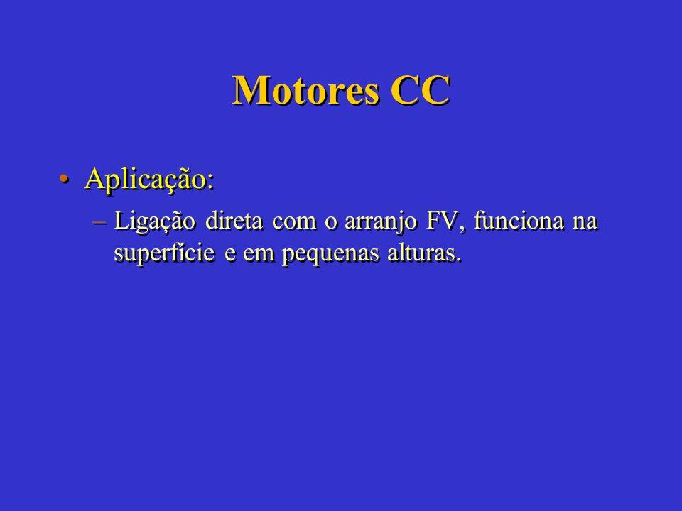 Motores CC Aplicação: Ligação direta com o arranjo FV, funciona na superfície e em pequenas alturas.