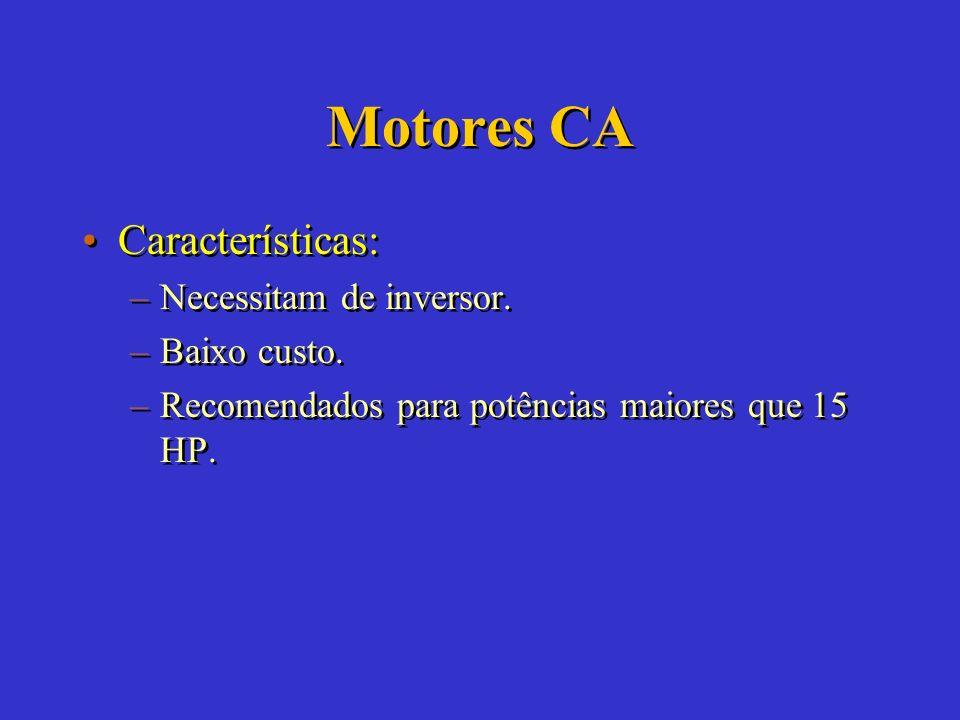 Motores CA Características: Necessitam de inversor. Baixo custo.