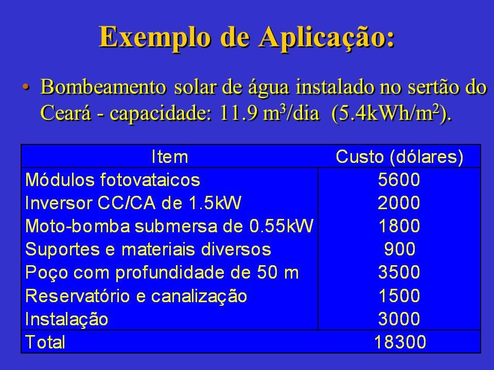 Exemplo de Aplicação: Bombeamento solar de água instalado no sertão do Ceará - capacidade: 11.9 m3/dia (5.4kWh/m2).