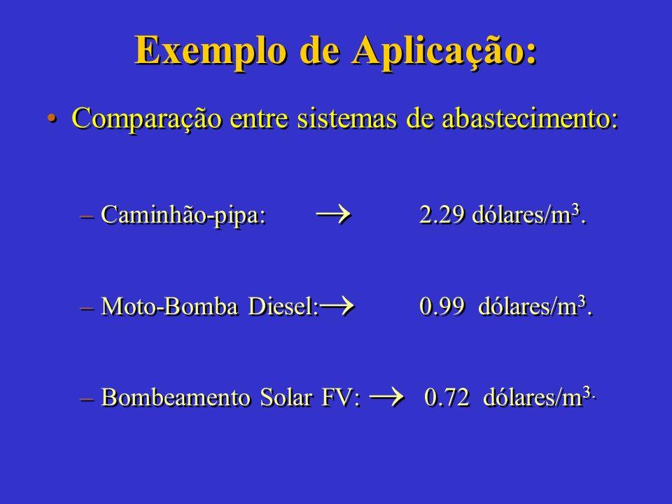 Exemplo de Aplicação: Comparação entre sistemas de abastecimento: