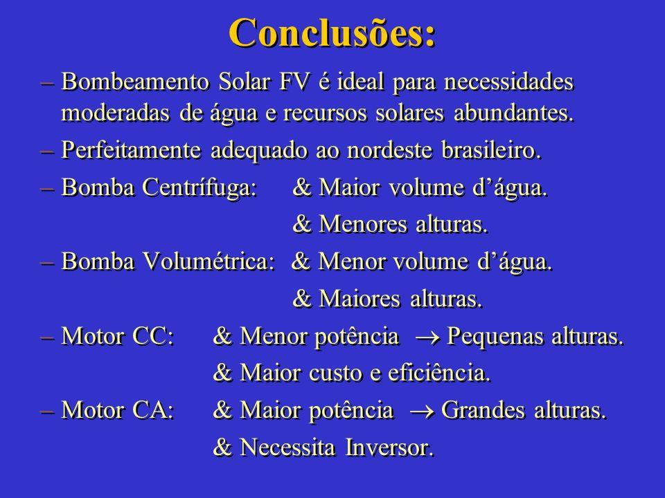 Conclusões: Bombeamento Solar FV é ideal para necessidades moderadas de água e recursos solares abundantes.