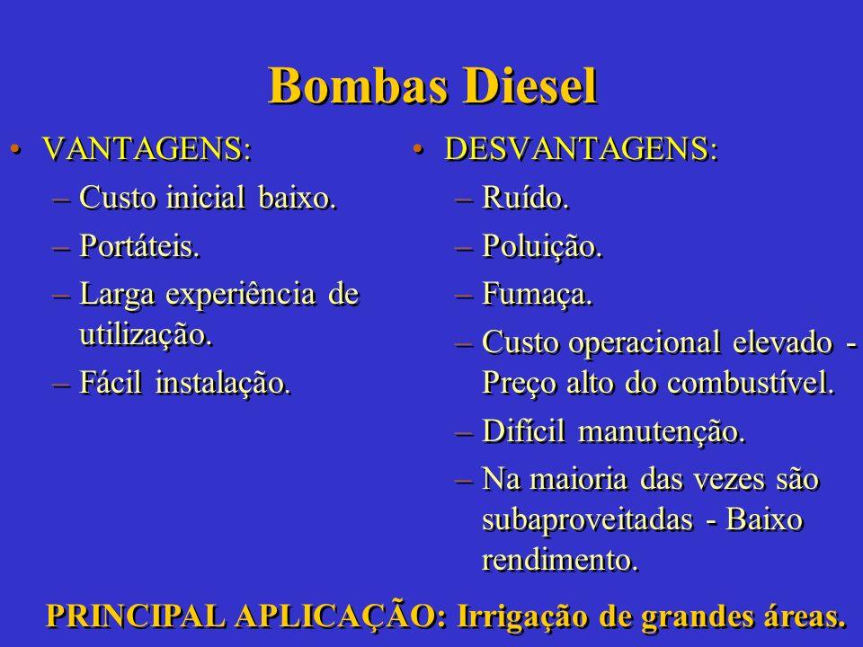 Bombas Diesel VANTAGENS: Custo inicial baixo. Portáteis.