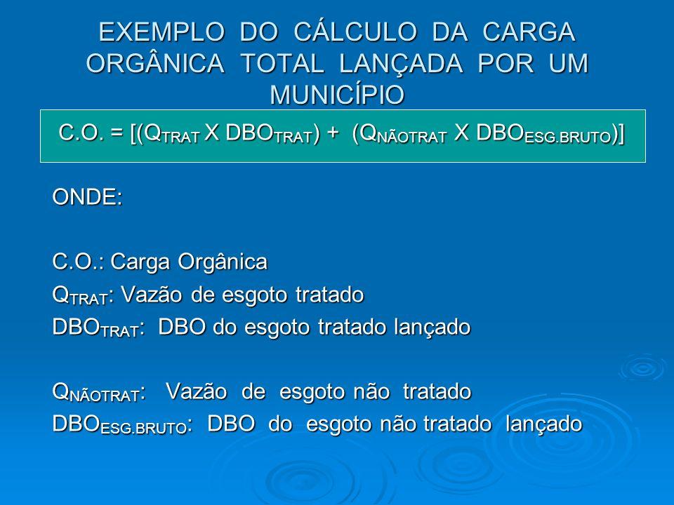 EXEMPLO DO CÁLCULO DA CARGA ORGÂNICA TOTAL LANÇADA POR UM MUNICÍPIO