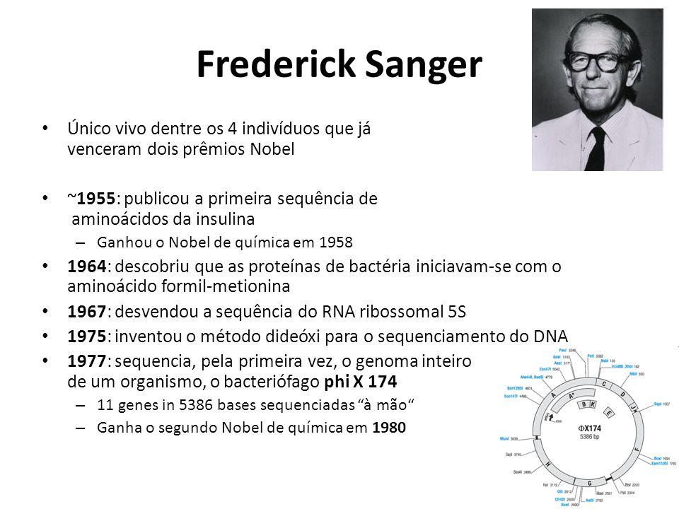 Frederick Sanger Único vivo dentre os 4 indivíduos que já venceram dois prêmios Nobel.