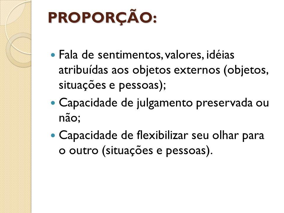 PROPORÇÃO: Fala de sentimentos, valores, idéias atribuídas aos objetos externos (objetos, situações e pessoas);