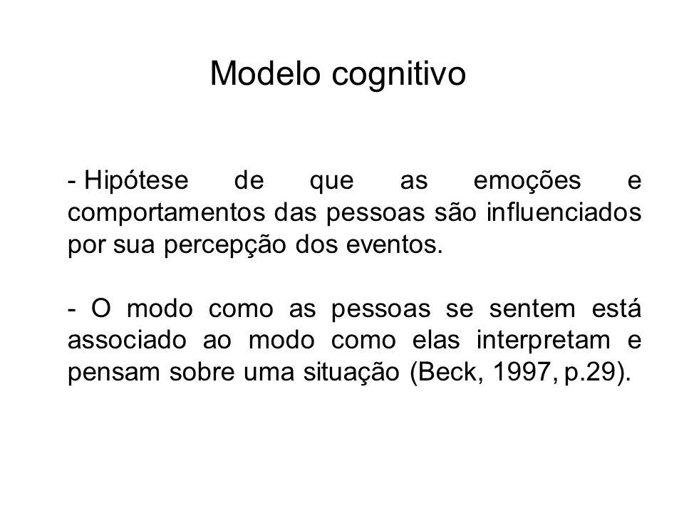Modelo cognitivo Hipótese de que as emoções e comportamentos das pessoas são influenciados por sua percepção dos eventos.