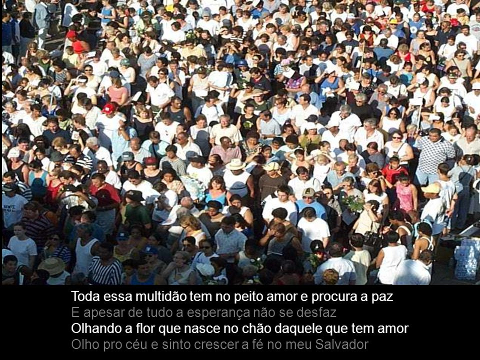 Toda essa multidão tem no peito amor e procura a paz