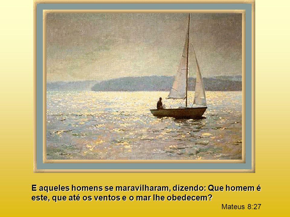 E aqueles homens se maravilharam, dizendo: Que homem é este, que até os ventos e o mar lhe obedecem