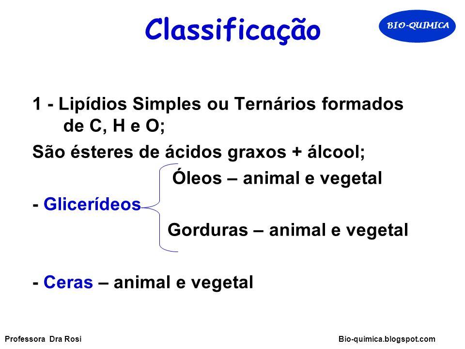 Classificação 1 - Lipídios Simples ou Ternários formados de C, H e O;