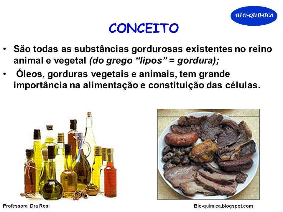 BIO-QUIMICA CONCEITO. São todas as substâncias gordurosas existentes no reino animal e vegetal (do grego lipos = gordura);