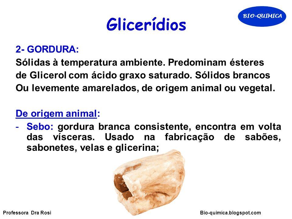 Glicerídios 2- GORDURA: