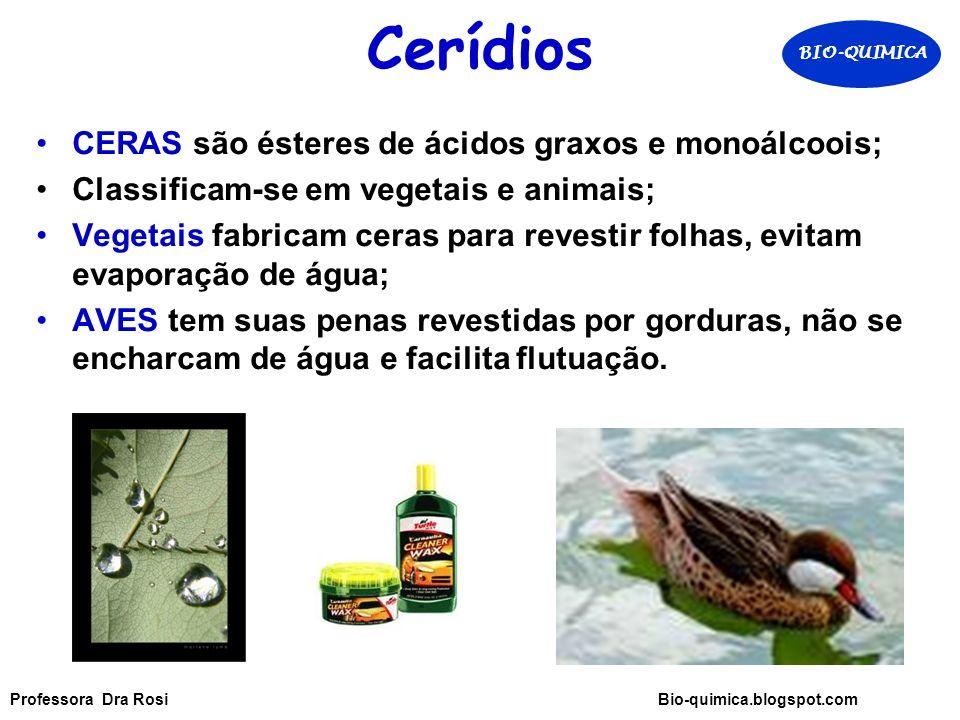 Cerídios CERAS são ésteres de ácidos graxos e monoálcoois;