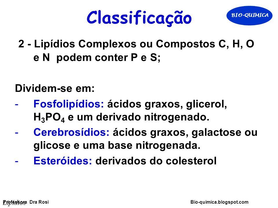 Classificação BIO-QUIMICA. 2 - Lipídios Complexos ou Compostos C, H, O e N podem conter P e S; Dividem-se em: