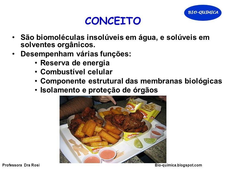 BIO-QUIMICA CONCEITO. São biomoléculas insolúveis em água, e solúveis em solventes orgânicos. Desempenham várias funções: