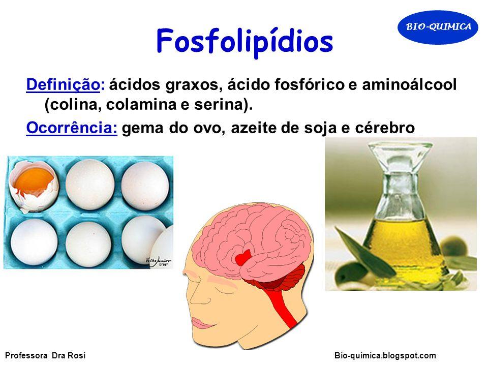 Fosfolipídios BIO-QUIMICA. Definição: ácidos graxos, ácido fosfórico e aminoálcool (colina, colamina e serina).